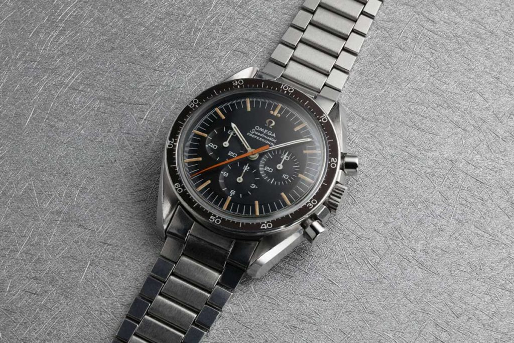 The Reference ST145.012 — Ultraman watch, featuring the 18.80mm orange chronograph seconds hand; the example seen here features a uncommon bezel (Image: omegawatches.com)