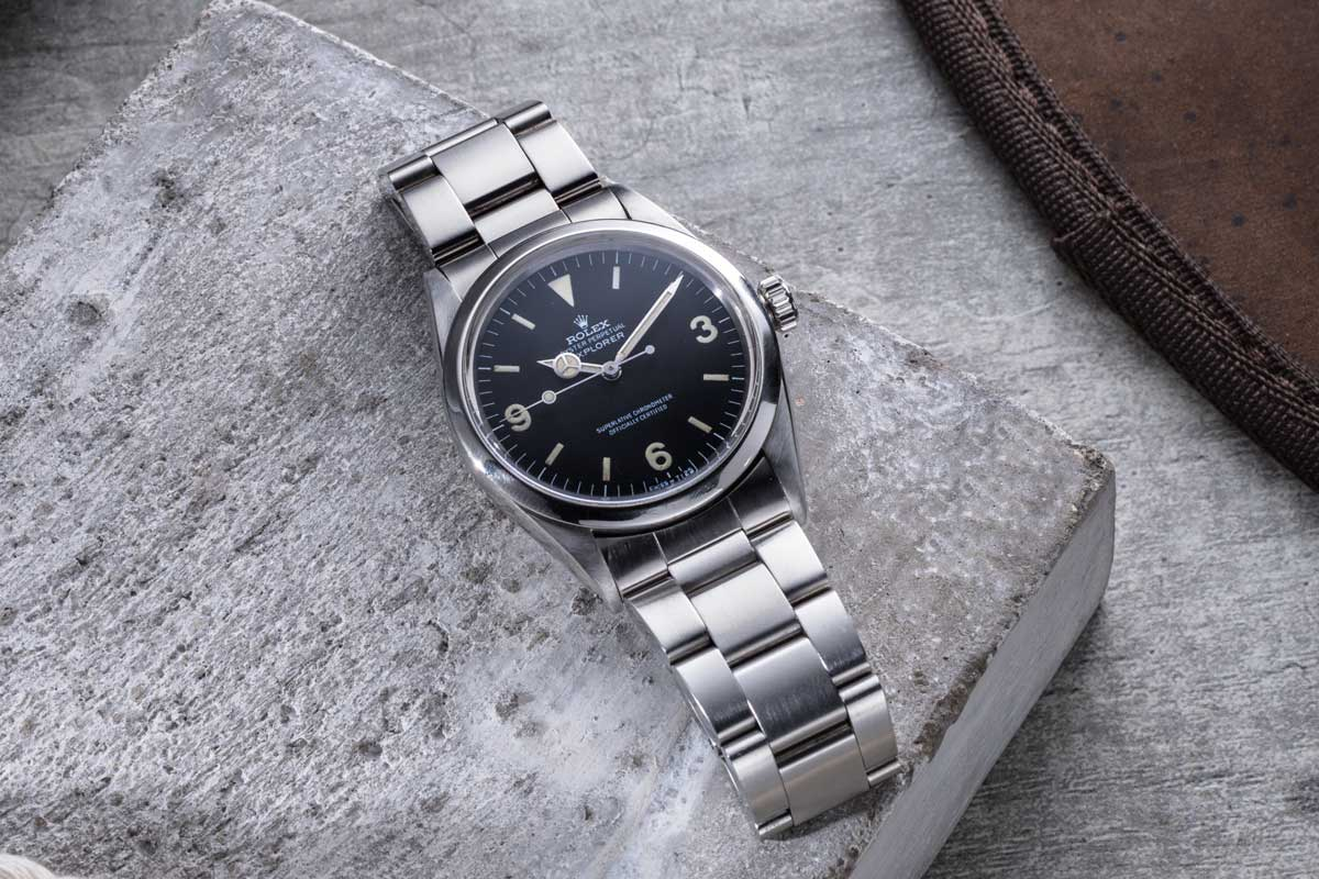 An early 1970s matte so-called 'Frog Foot' Rolex Explorer ref.1016 (©Revolution)