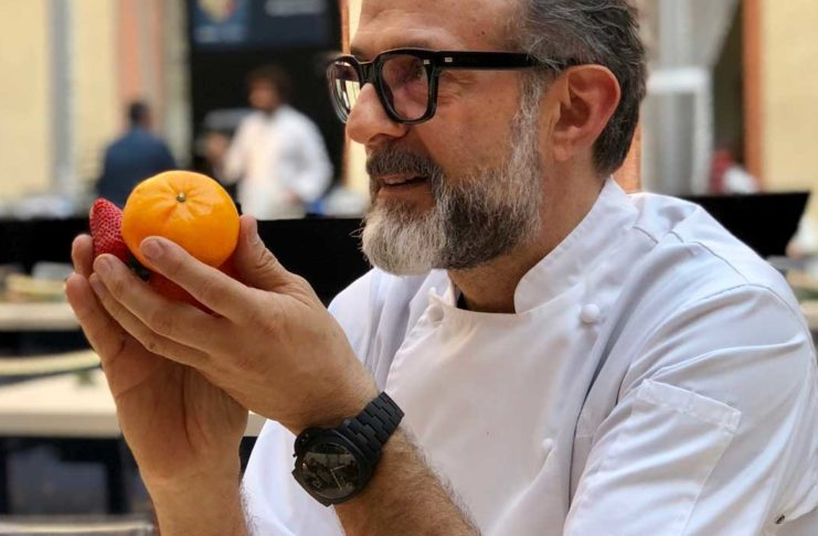 Massimo Bottura wearing the Tuttonero - Luminor 1950 3 Days GMT Automatic Ceramica (PAM00438)