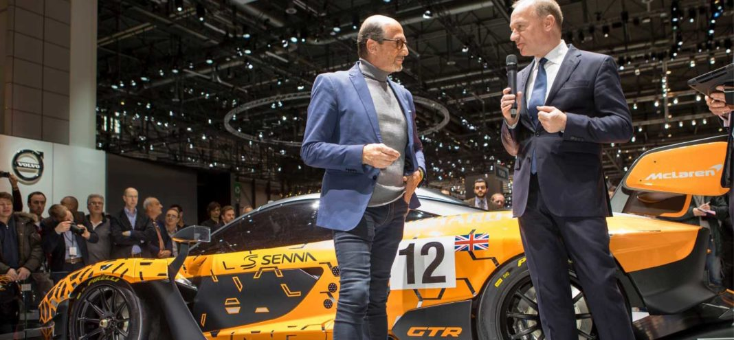 Richard Mille and CEO of McLaren Automotive, Mike Flewitt at the 88th Geneva International Motor Show earlier in March of 2018 (Image: mclaren.com)
