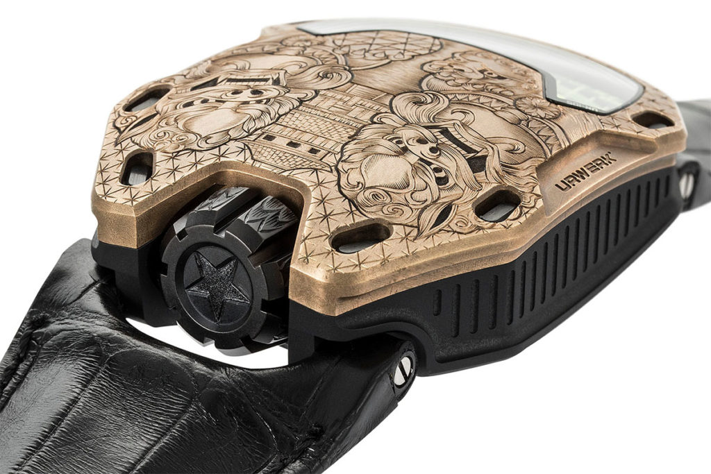 The Urwerk UR-105 Bronze Guardian Lions