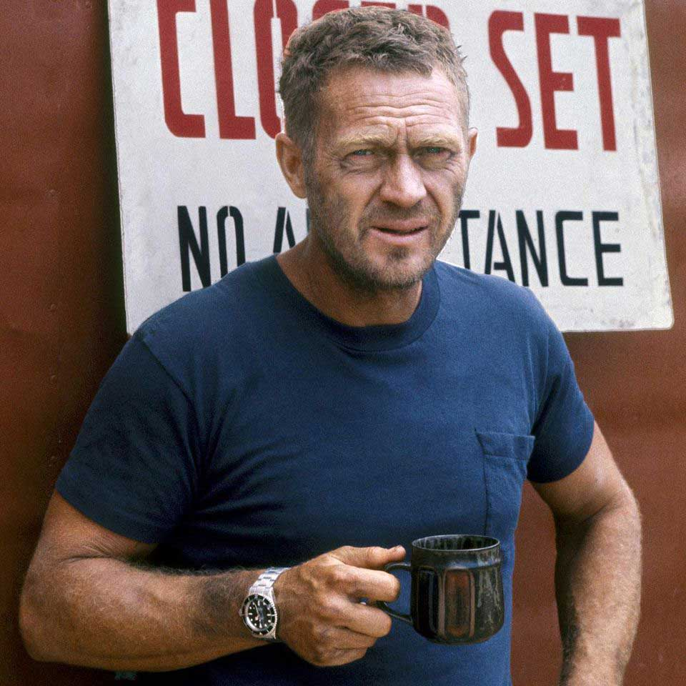 McQueen on the set of 'Papillon,' wearing his Rolex Submariner ref. 5513 (Image: Ron Galella)