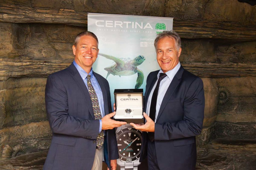 "Sea Turtle Conservancy."" Executive Director David Godfrey with Certina President, Adrian Bosshard"