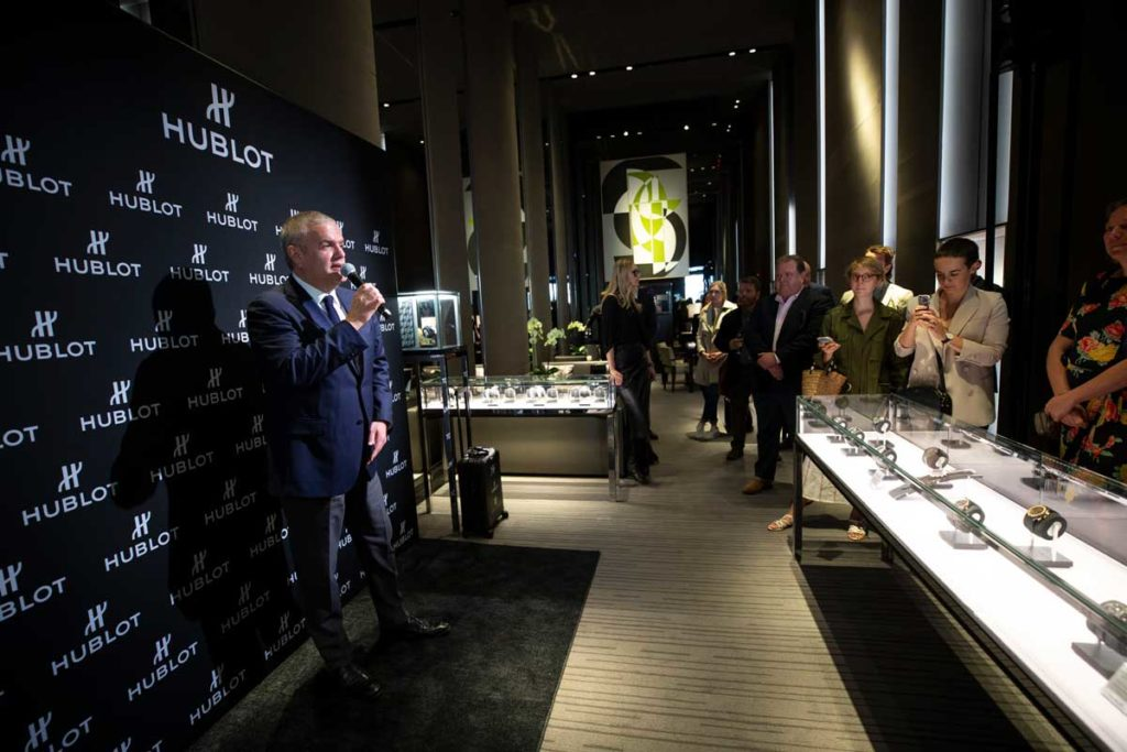Hublot CEO, Ricardo Guadalupe at the brand's New York Fifth Avenue boutique announcing the Hublot Digital Boutique
