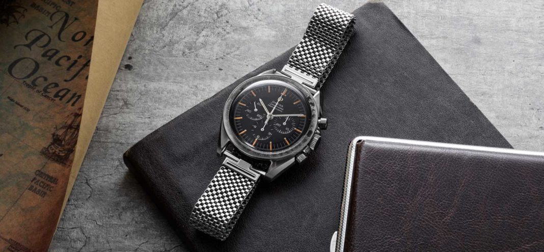 The Omega Speedmaster ref. 105.012, seen here on a pristine JB Champion steel mesh bracelet (©Revolution)