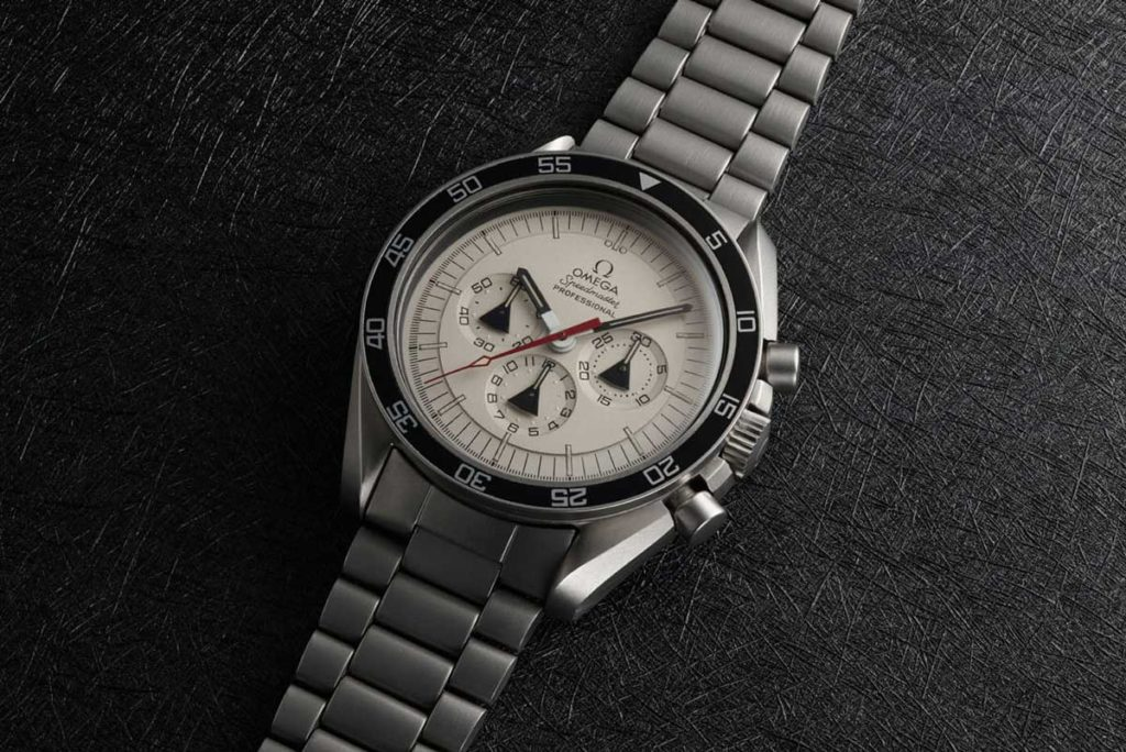1972 — The Alaska II Prototype went back to the familiar Speedmaster case and introduced the radial dial to the lineup (Image: omegawatches.com)
