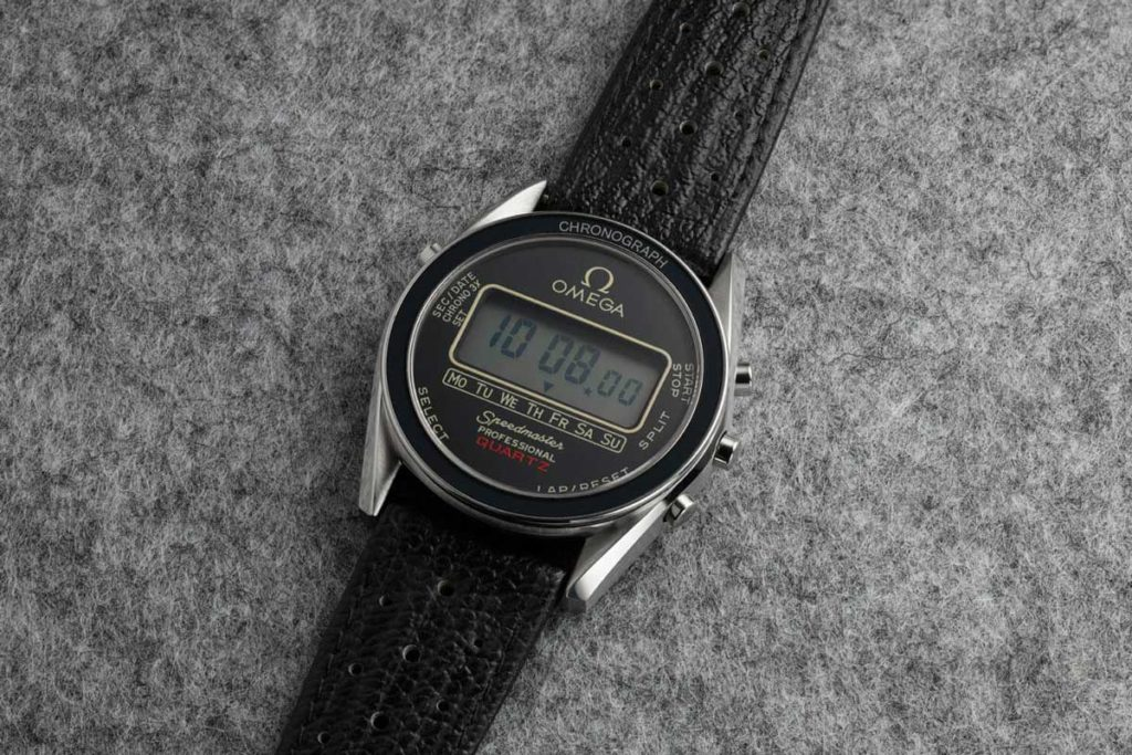 1979 — The Alaska IV Prototype, the Speedmaster Quartz powered by the 1621 quartz caliber which had a very innovative way of lighting up its LCD screen, called the BETA light system (Image: omegawatches.com)