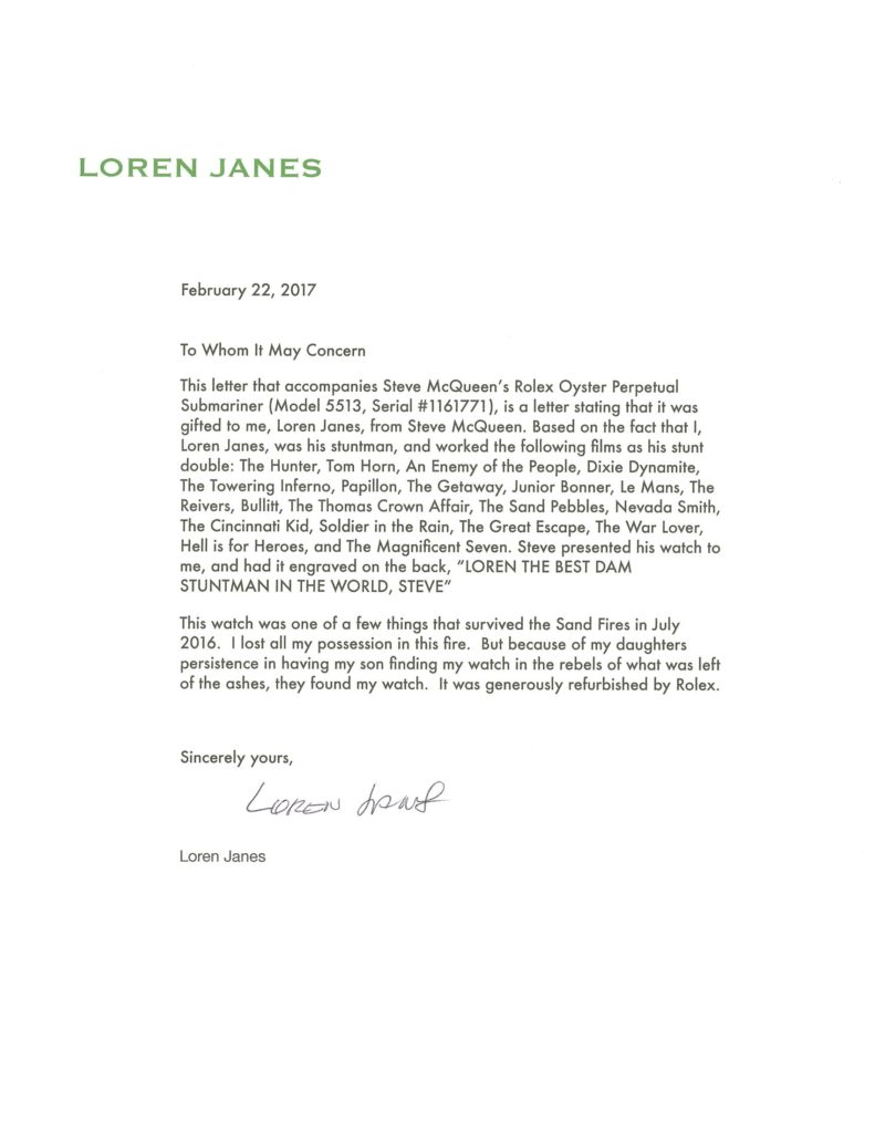The letter from Loren Janes that accompanies the Submariner 5513 (Image: phillipswatches.com)