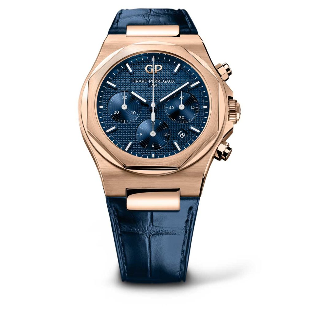 Girard-Perregaux Laureato Chronograph 42mm pink Gold on leather strap with dark blue dial variation