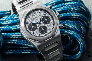 The Girard-Perregaux Laureato Chronograph in 42mm, the steel on steel with silver dial variation (© Revolution)