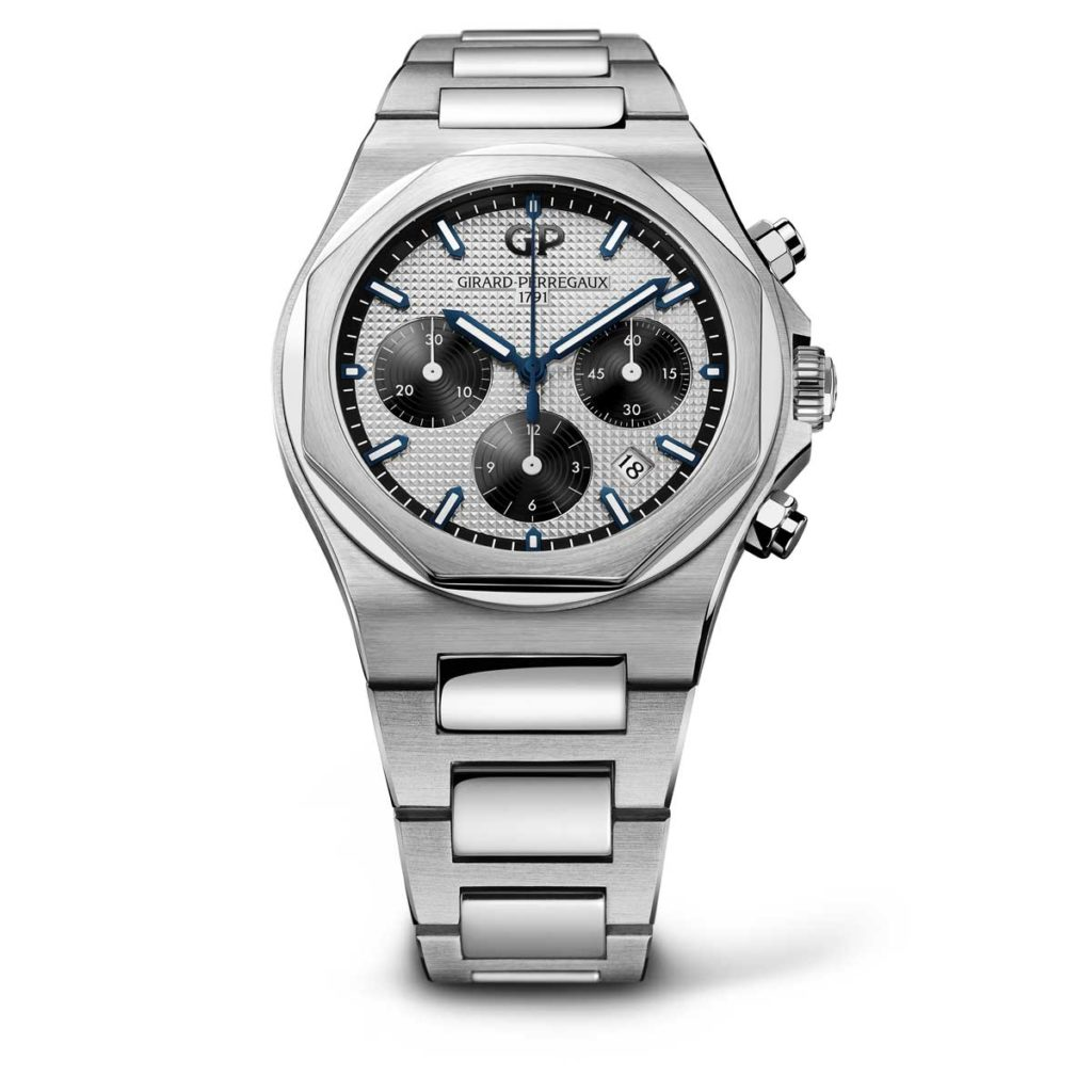 The Girard-Perregaux Laureato Chronograph in 42mm, the steel on steel with silver dial variation