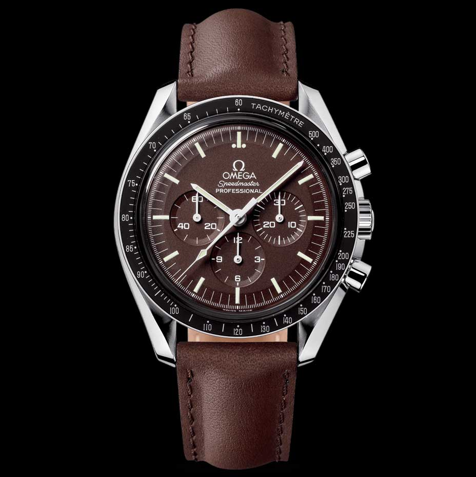 The Speedmaster reference 311.32.42.30.13.001 was introduced in 2007 and produced until 2013. The watch had a deep brown chocolate dial reminiscent of vintage tropical dial Speedmasters