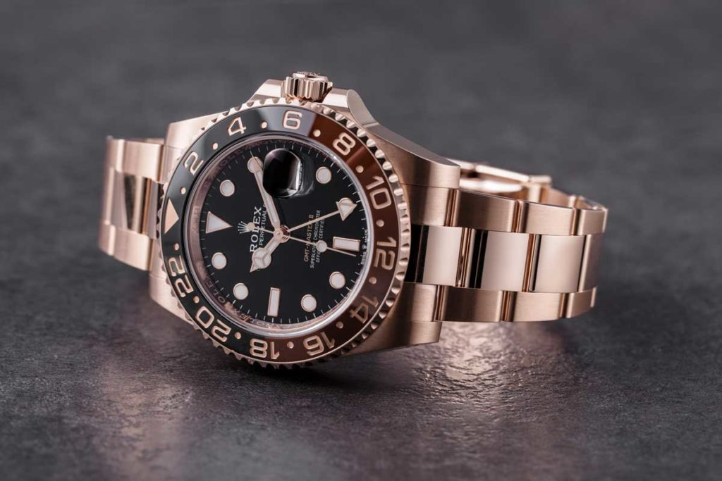 GMT-Master II 'Root Beer' in gold with Cerachrom bezel (© Revolution)