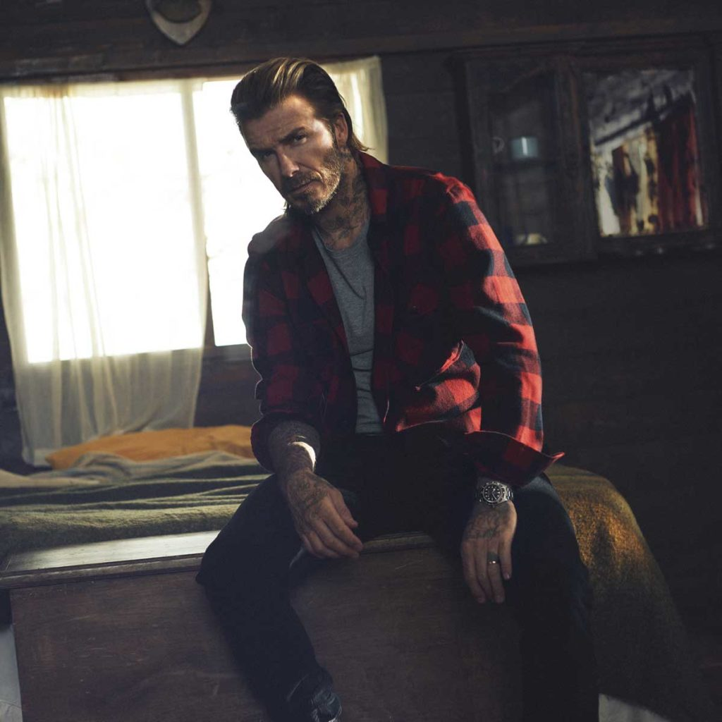 David Beckham wearing the Black Bay Fifty-Eight, photographed by David Sims, for Tudor
