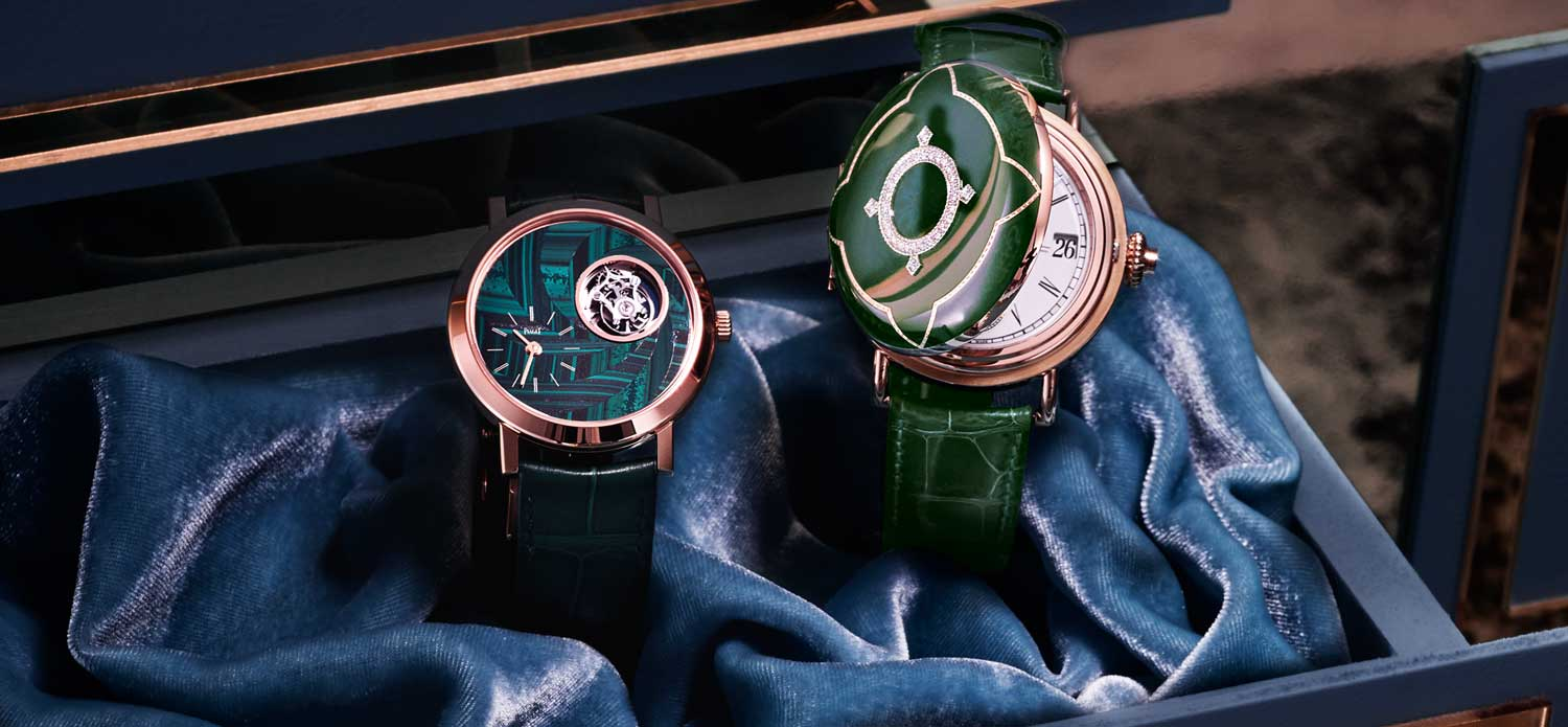 Part of the Harrods Rarity collection: Rose gold Piaget Altiplano and the H. Moser Perpetual Calendar finished with a green cloisonné enamel hunter case (Image: harrods.com)