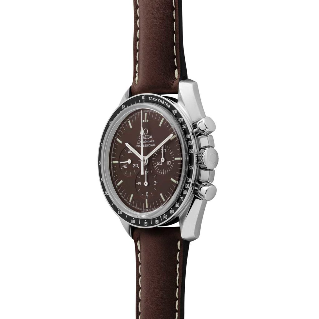 Speedmaster Professional Moonwatch Chocolate on a leather strap, ref. 311.32.42.30.13.001 (© Revolution)