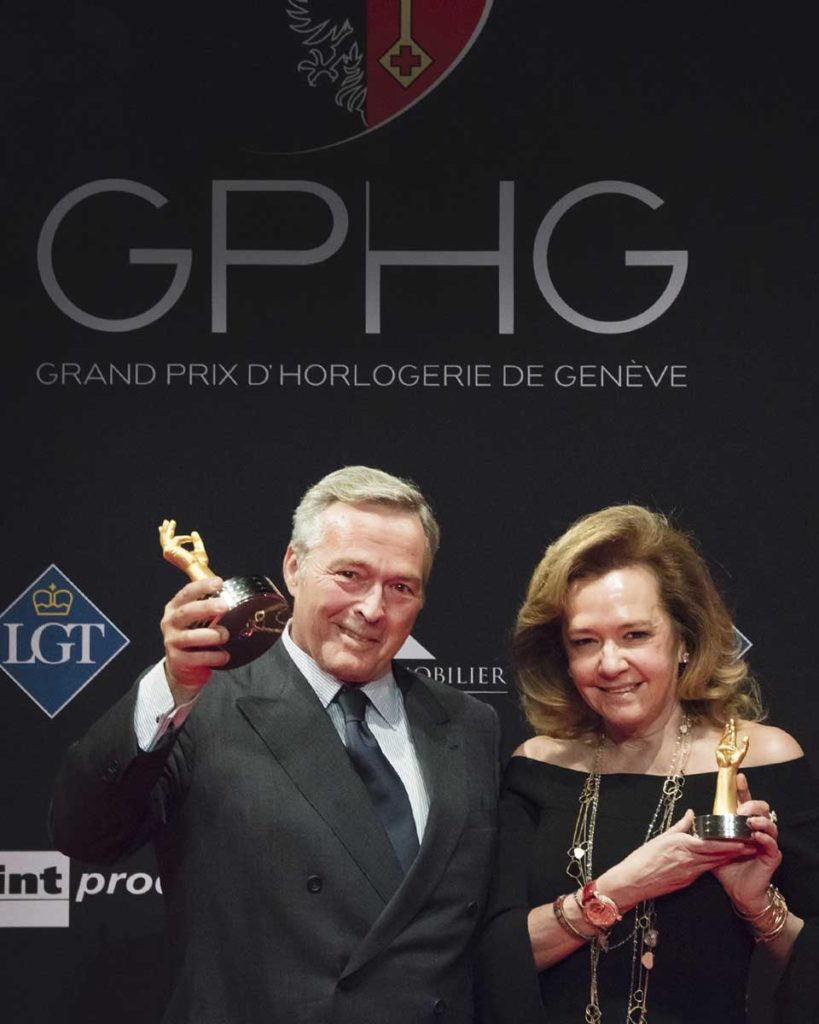 Mr Karl-Friedrich Scheufele with his sister and co-president of Chopard, Ms Caroline Scheufele at the 2017 GPHG Awards