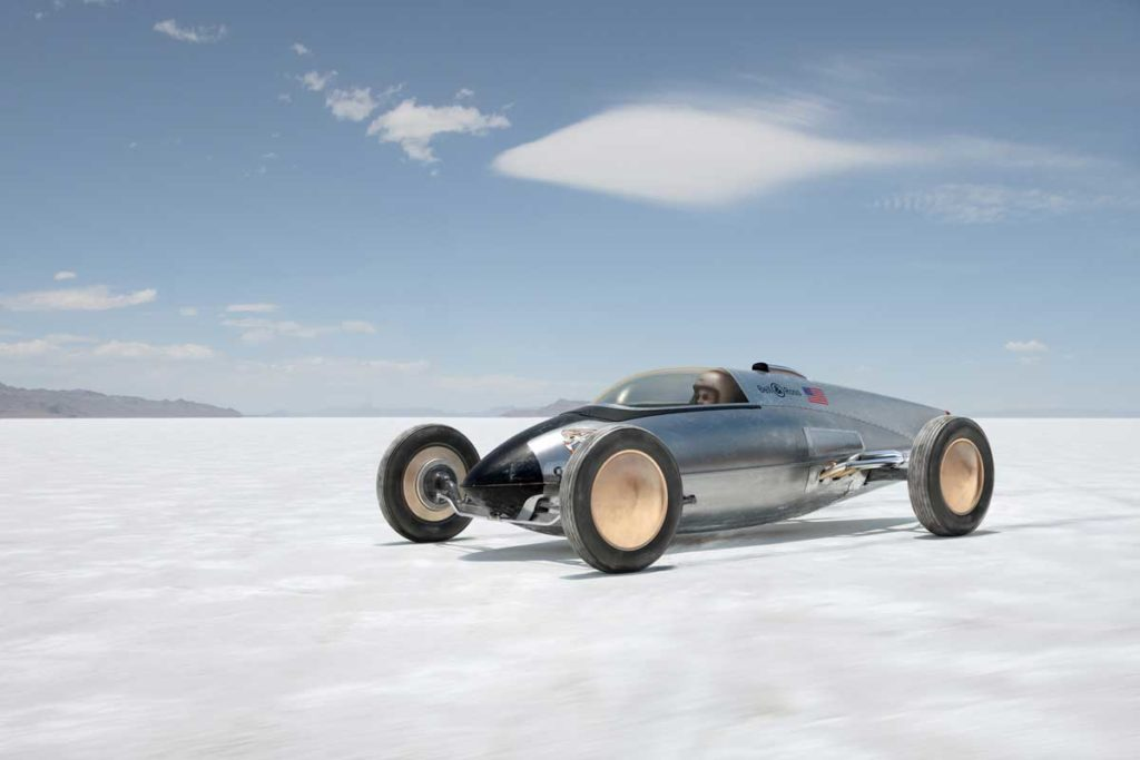 Bell & Ross' own belly tank racer out on the salt flats