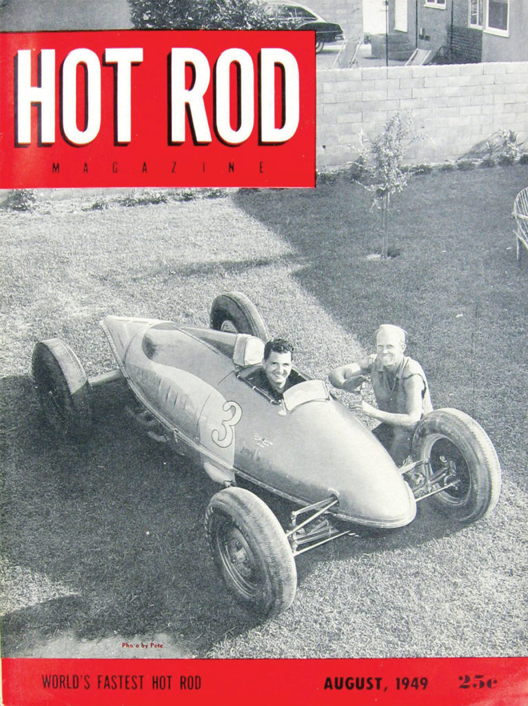 Bill Burke and fellow hot-rodder Don Francisco pose with one of the original belly tanks on the cover of the August 1949 issue of Hot Rod magazine (Image: Hot Rod Magazine)