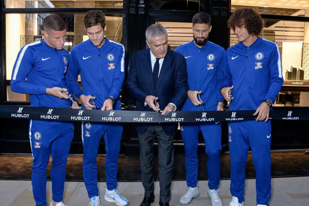 Hublot CEO Ricardo Guadalupe in the middle with Chelsea players Ross Barkley, Marcos Alonso, Olivier Giroud and David Luiz (L-R)