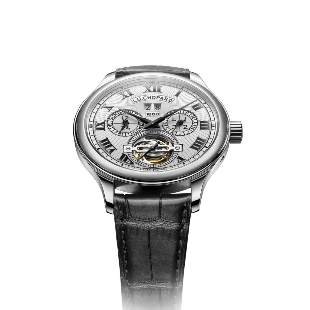 2010 — Chopard unveils the L.U.C All-in-One featuring a tourbillon, a perpetual calendar with orbital moon phase and an equation of time indication with 7-day power reserve, thanks to its four barrels.