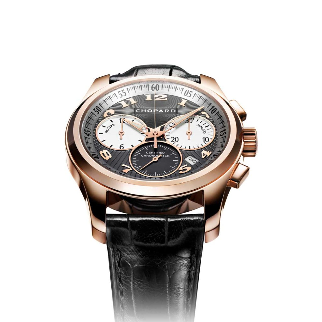 2007 — Chopard presents its first automatic in-house chronograph replete with vertical clutch, column wheel, zero reset of the small seconds and a precise jumping minute counter.