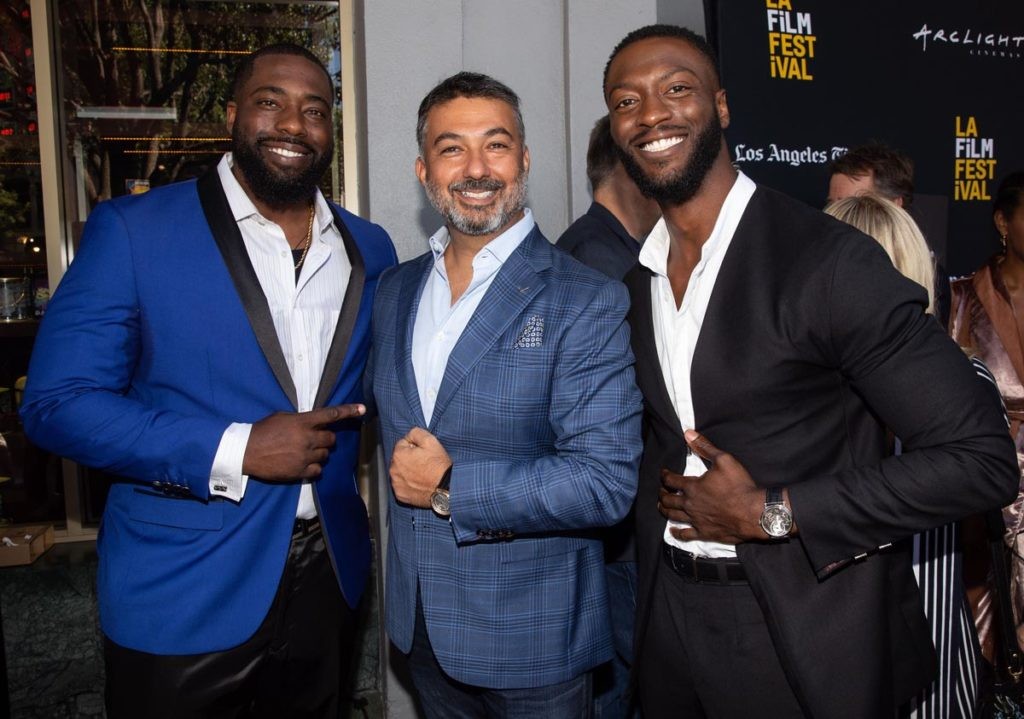From Left: Brian Banks, subject of eponymous biopic starring Aldis Hodge (right); and Ahmad Shahriar, President (North America) of Breguet (Photograph by Briana Hodge)