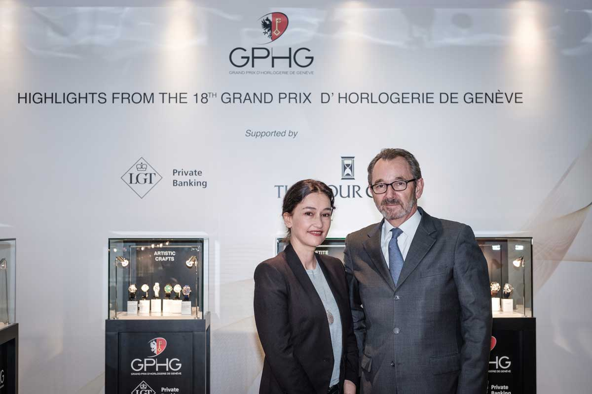 Director of the GPHG, Carine Maillard and President of the Foundation, Raymond Loretan