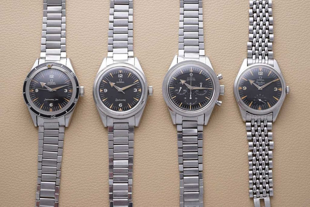 "The ""Broad Arrow"" Family: the ref. CK 2913 Seamaster 300, ref. CK2914 Railmaster, ref. CK2915 Speedmaster and the ref. CK 2990 Ranchero (Image: @PhillipsWatches)"