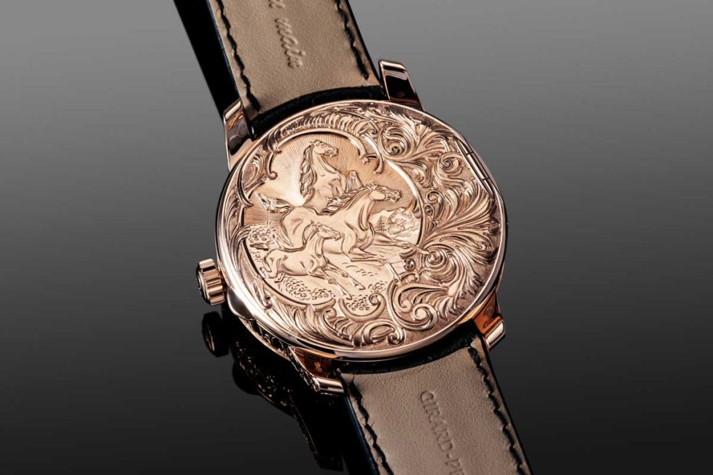 "Engraved closed caseback of the La Esmeralda Tourbillon ""À secret"" (Image © Revolution)"
