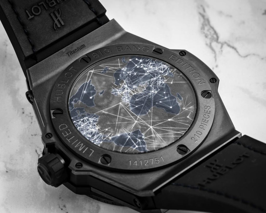 Depicted on the back of the Hublot Big Bang Meca-10 P2P, the interconnected network of computers on which cryptocurrency works (Image © Revolution)