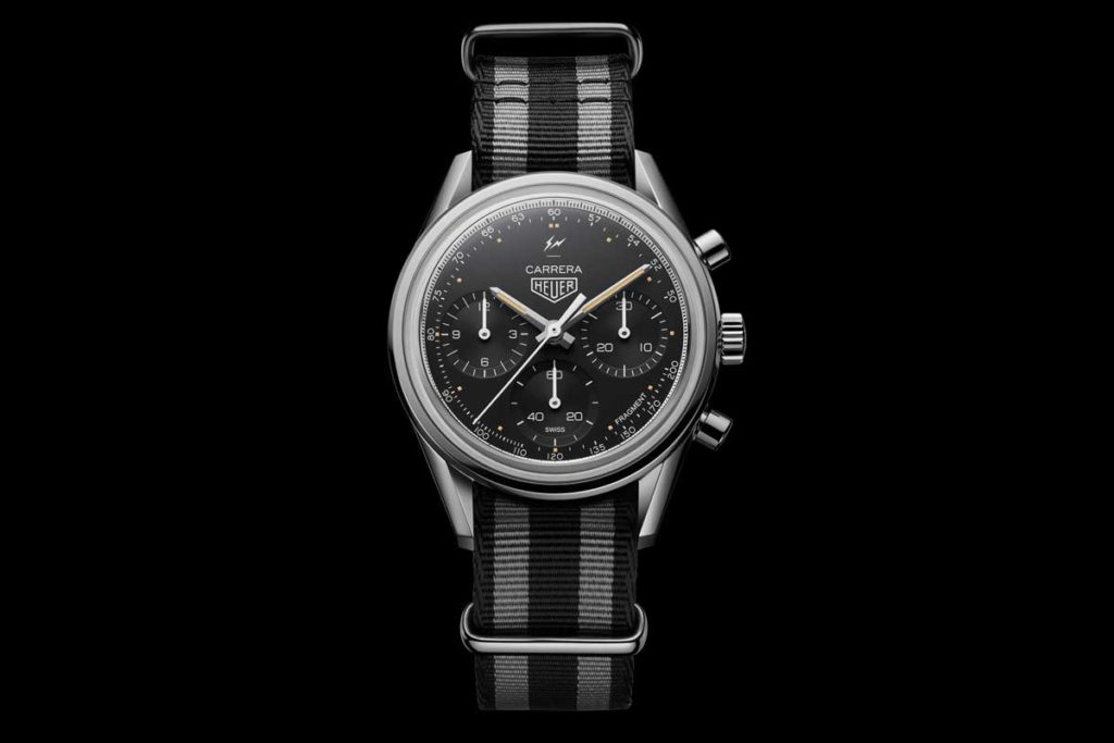 The TAG Heuer Carrera Fragment on a black and grey NATO strap