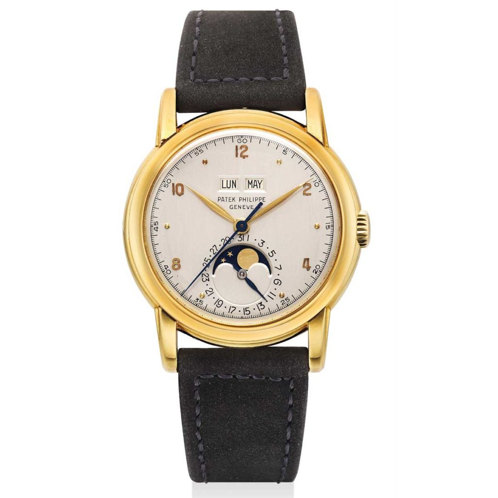 Lot 975 at the the Phillips Hong Kong Watch Auction: SEVEN, a 1953 yellow gold ref. 2497 with an early dial featuring Arabic numerals (Image: phillipswatches.com)