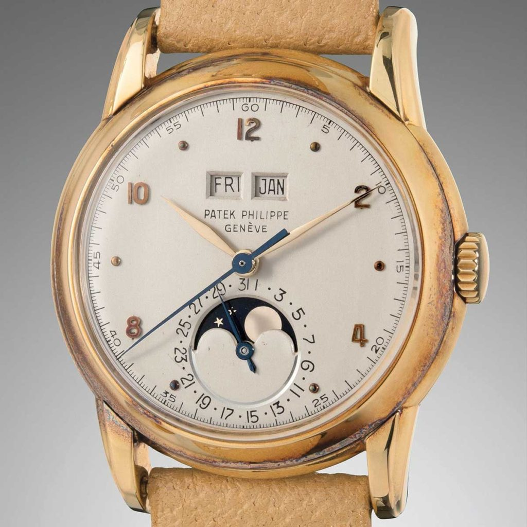 Lot 80 at the the Phillips December 2018 New York auction, a 1921 yellow gold ref. 2497 with an early dial featuring Arabic numerals (Image: phillipswatches.com)