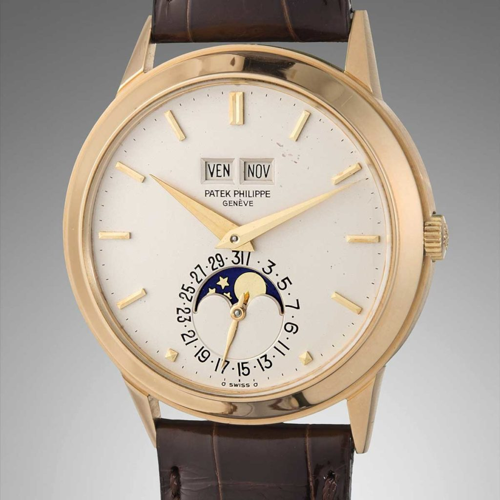 Lot 106 at the the Phillips December 2018 New York auction, a 1978 yellow gold ref. 3448 with a later printed dial (Image: phillipswatches.com)