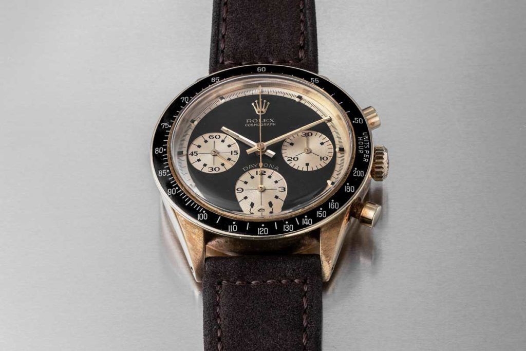 "Lot 876 at the HKWA7, a Rolex Paul Newman Daytona Ref. 6241 ""John Player Special"", sold for US$779,580 (Image © Revolution)"