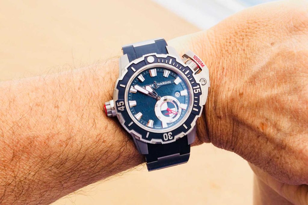 Alex Caizergues wearing the Ulysse Nardin Deep Diver (Image: gentlemenmodern)