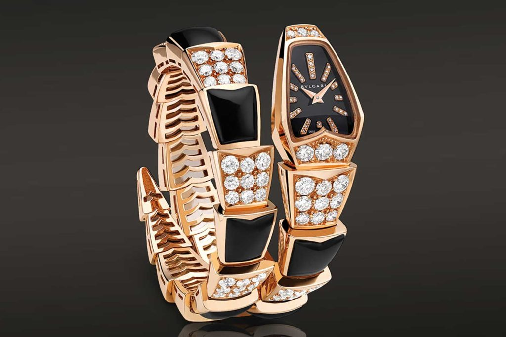 Bulgari's Serpenti timepiece in 18k Pink Gold case set with round brilliant cut diamonds