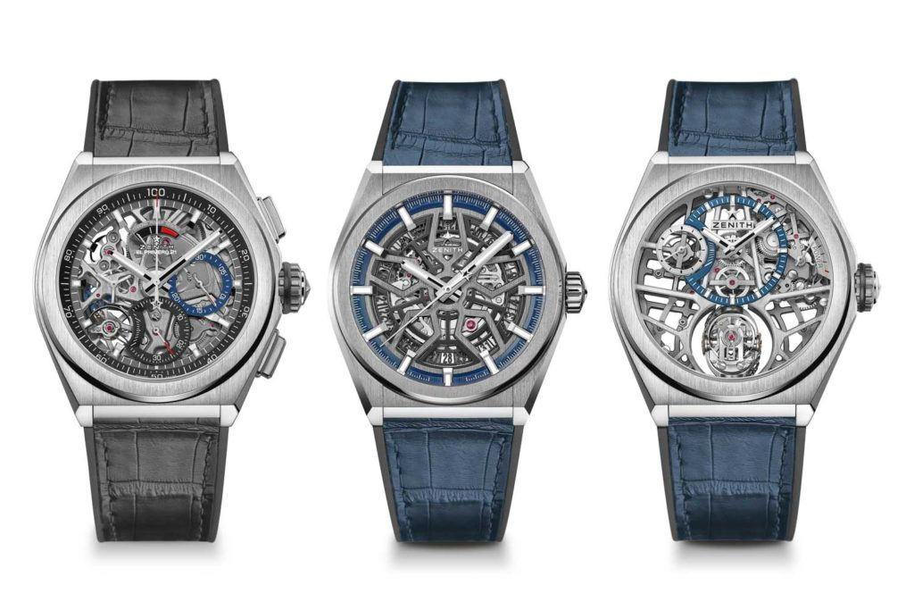 From left: Zenith Defy El Primero 21 Titanium Skeleton, Defy Classic and Defy Zero G