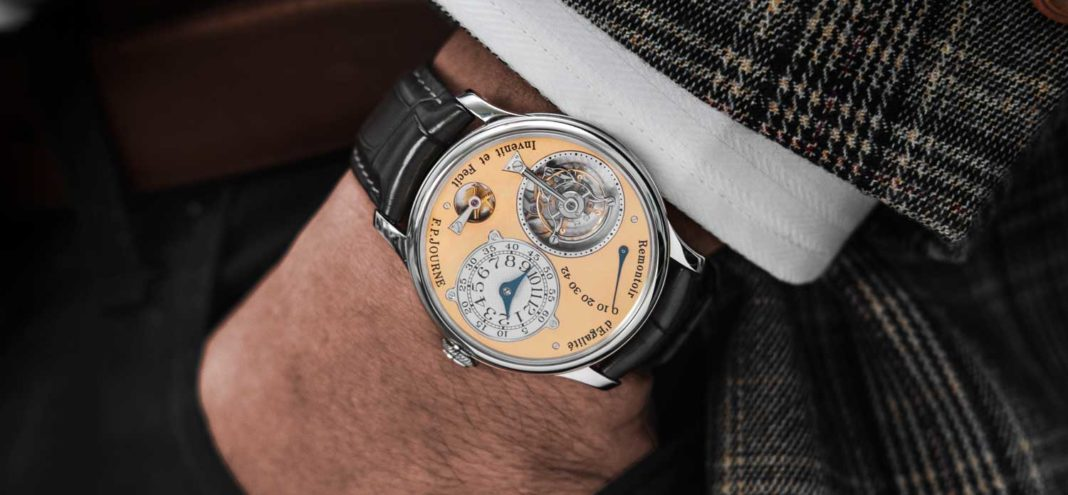 On Jack's wrist, his F.P. Journe Tourbillon Souverain, early piece with the brass movement (Image © Revolution)
