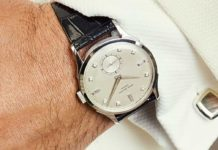 The Rake's proposition for evening wear paired with a Patek Philippe diamond set ref 1589 in platinum; possibly unique; circa 1950