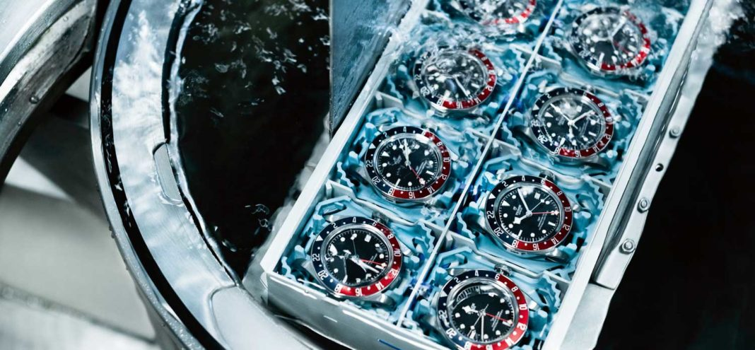 Tudor Black Bay GMT batch being tested for water resistance