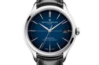 Clifton Baumatic COSC with striking blue to black graduated sunburst dial, sporting a white minute track and rhodium-plated hands