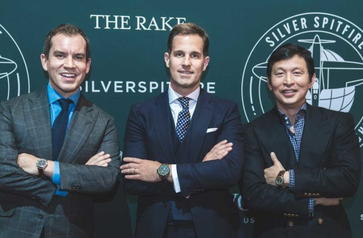 IWC Schaffhausen CEO Christoph Grainger-Herr (C), Wei Koh (R) and guest attend the Influencer event at the IWC booth during the launch of the new Pilot's Watches from IWC Schaffhausen at the Salon International de la Haute Horlogerie (SIHH) on January 16, 2019 in Geneva, Switzerland (Image © Revolution)