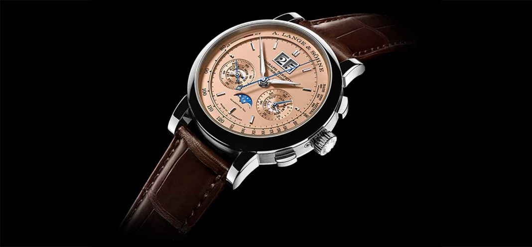 A Lange & Söhne Datograph Perpetual Tourbillon in white gold, with a pink gold dial display