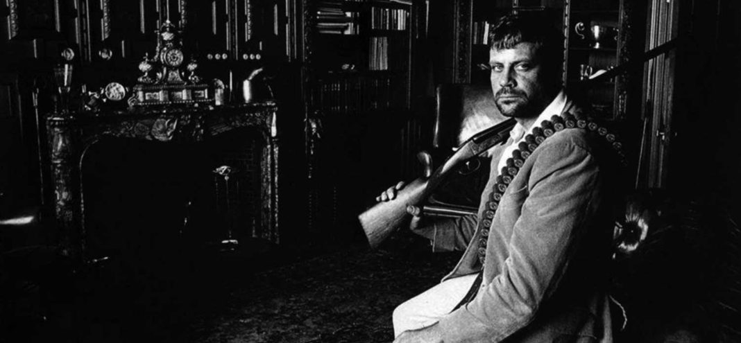 Oliver Reed at his English home, Broome Hall, circa. 1975