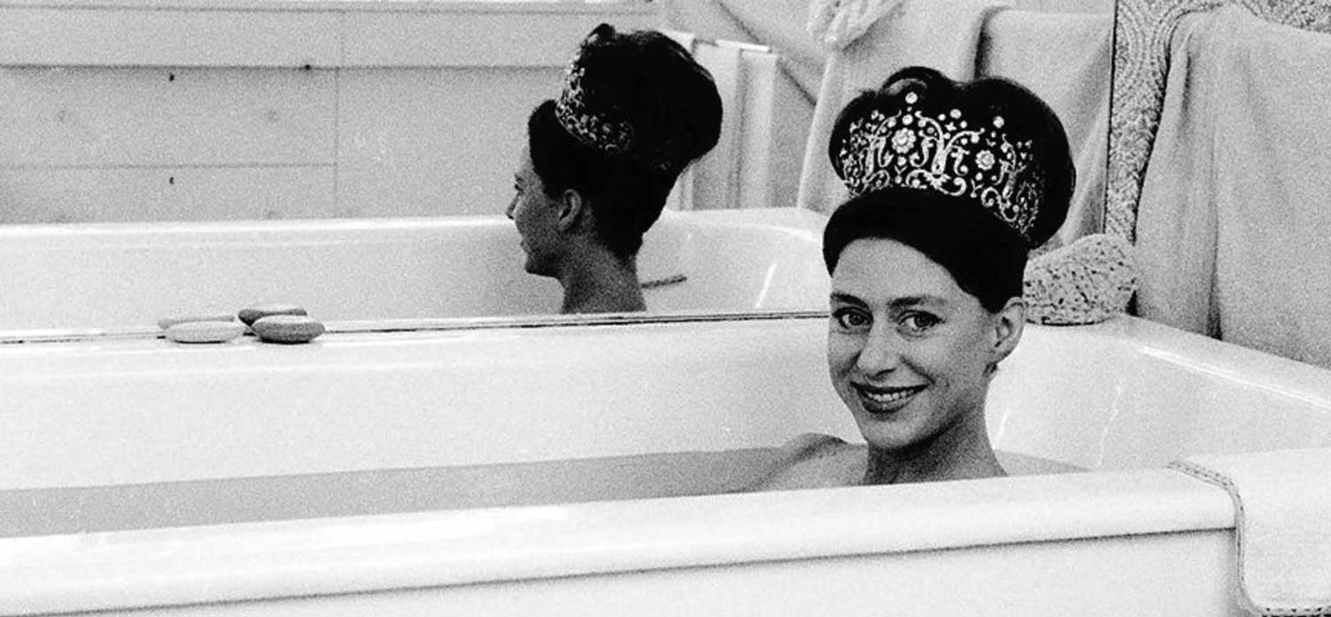 Princess Margaret wearing a tiara in the bath, picture taken by Lord Snowdon in 1962