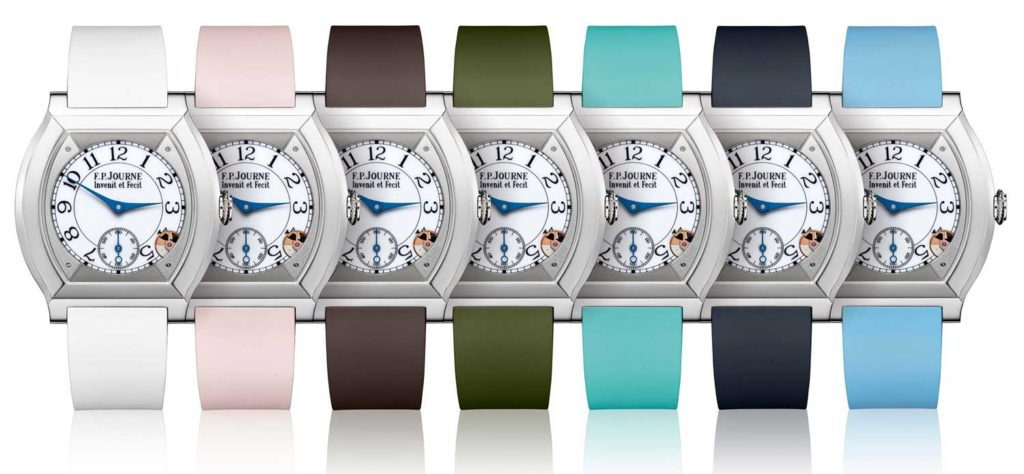 F.P. Journe's Élégante collection was revealed in 2014 after 8 years of R&D - and has since expanded — experimenting with various colours and jewellery options.