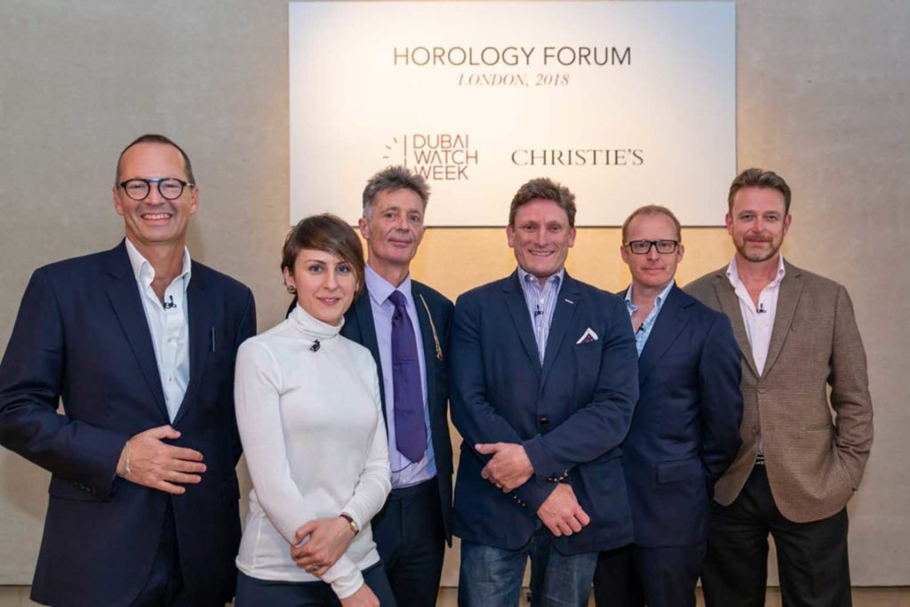 Panelists at the DWW Horology Forum, from left: Dr Andrew Hildreth, Dr Rebecca Struthers, Richard Stenning, Stephen Forsey, Roger Smith OBE, Peter Speake-Marin