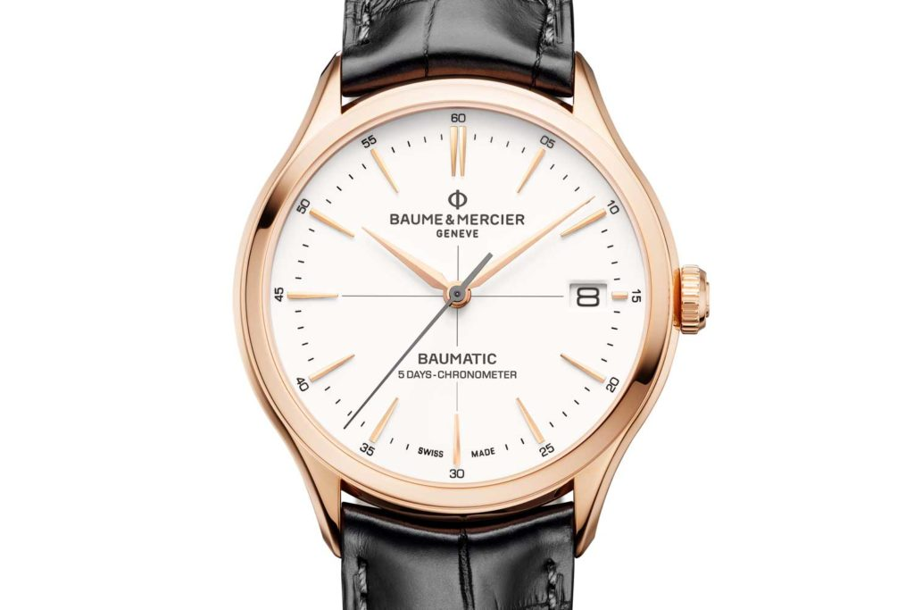 "Clifton Baumatic COSC in 39 mm satin-finished red gold with a ""warm white"" porcelain-effect dial"